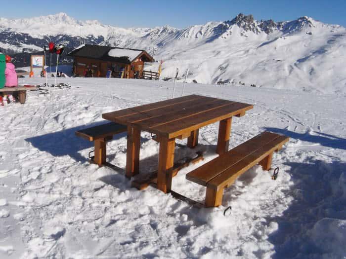 Table banc montagnarde mobilier d 39 ext rieur en m l ze monin bois sas - Table banc bois exterieur ...