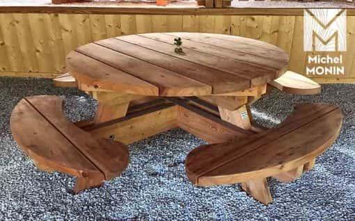 Table-banc Ronde bois - Mobilier d\'extérieur en mélèze ...