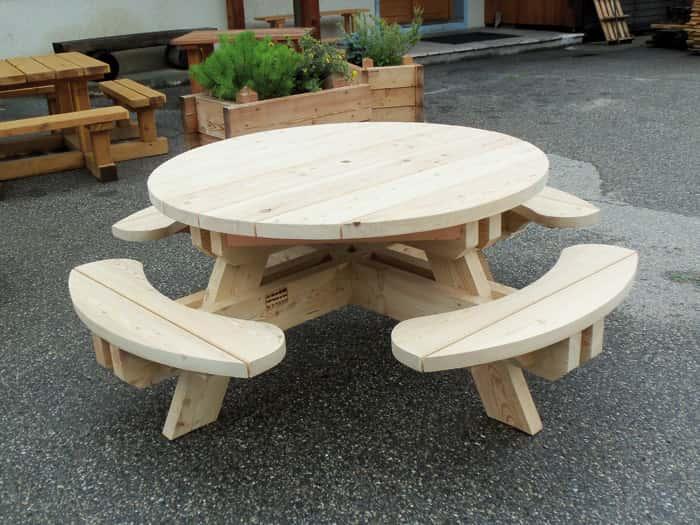 Table-banc Ronde bois - Mobilier d\'extérieur en mélèze | Monin Bois SAS