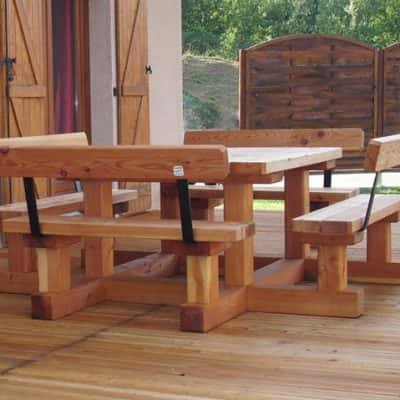 Table banc en bois mélèze pique nique