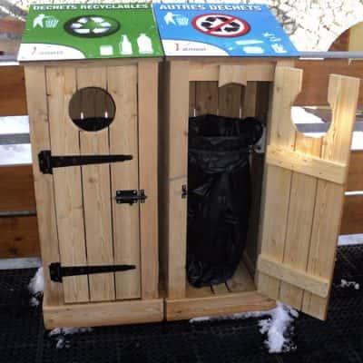 corbeille à déchets poubelle en bois