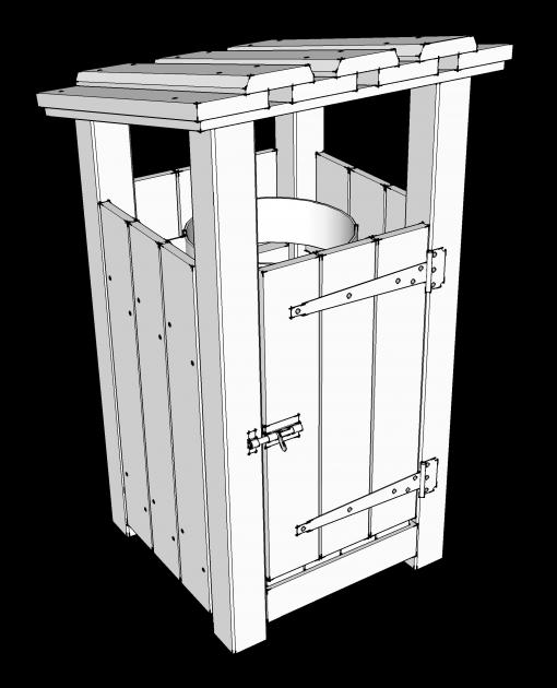 corbeille à déchets en bois