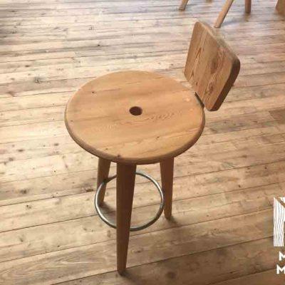 chaise de bar haute bois mélèze