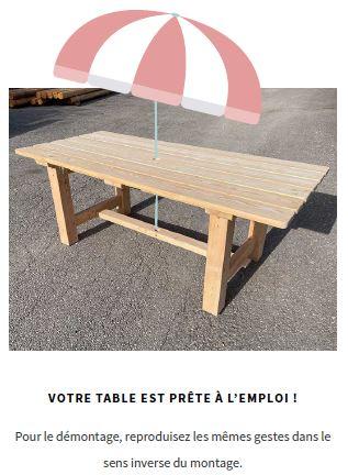 table montage en kit facile bois massif meleze